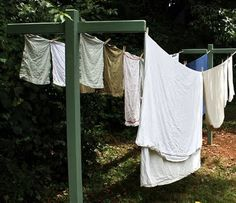 LOVE clothes lines. So classic looking, and a great way to go green, save money, and sun some stains out.