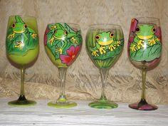 hand painted aMAZON Frog 20oz Wine glasses unique creations