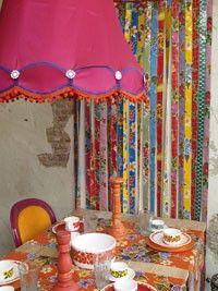 kitsch kitchen corner with hand made lampsade
