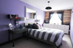 Paint colors that match this Apartment Therapy photo: SW 6263 Exclusive Plum, SW 6545 Majestic Purple, SW 6970 Venture Violet, SW 6258 Tricorn Black, SW 6540 Starry Night