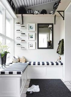 bench seating and love the shelving by the vaulted ceiling