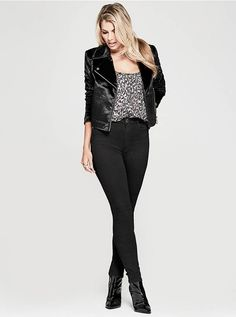 Add chic edge to your style in this moto jacket with faux pony hair and polished metal hardware details. Zipper sleeve details with O-ring pulls and front zipper pockets | MARCIANO.com