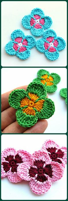 Small crochet flower appliques for decorations and craft Flower embellishment Greeting card making decor They are so lovely when decorating your craft cotton clothes cotton hat clips bows accessories etc. Add to scrapbook pages greeting cards Crochet Flower Hat, Crochet Flower Patterns, Crochet Shoes, Flower Applique, Crochet Motif, Crochet Doilies, Crochet Lace, Crochet Appliques, How To Make Decorations