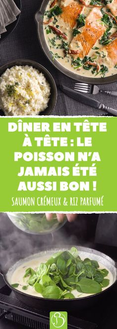 Une recette spéciale pour les fans de sauces crémeuses, de riz parfumé et de saumontendre ! #saumon #riz #ail #beurre #epinards #parmesan #tomates #vin #blanc #recette #gourmand #cuisine #food