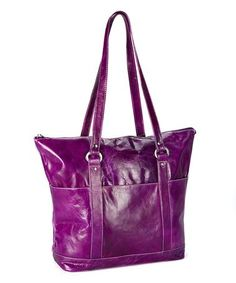 Loving this Purple Multi-Pocket Leather Tote on #zulily! #zulilyfinds