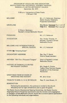 Dedication program September 29, 1974 page 1