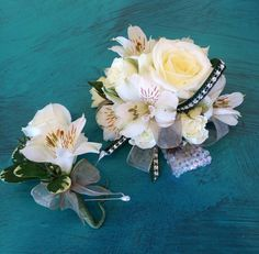 This fun and artful corsage was made to match the dress and express the character of the dress. #corsages #creativeflowers