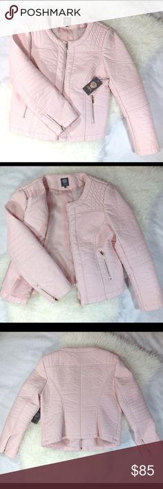 NEW Vince Camuto Pink Faux Leather Jacket Size L NEW With Tags VINCE CAMUTO Taffy Pink Faux Leather Jacket Size L (looks and feels like real leather) Vince Camuto Jackets & Coats