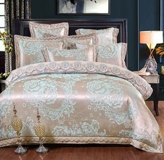 b11c3ade332ff White Silver Color Jacquard Luxury Bedding sets 4 6 Pcs Queen King size  lace cotton Stain Bed set Bed linen Duvet cover pillow