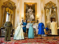The exhibition at Buckingham Palace showcases outfits from royal engagements as well infor...