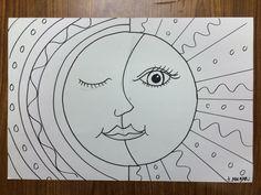 Výsledek obrázku pro art lessons pattern sun and moons Art 2nd Grade, Art Soleil, Classe D'art, Sun Art, School Art Projects, Art Lessons Elementary, Middle School Art, Mexican Art, Elements Of Art