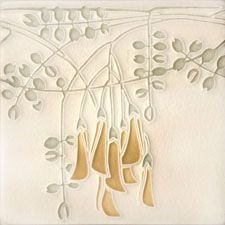 6x6 Flora Motawi Tile in Grey. Motawi Tile Works. LOVE these guys.