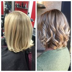 Before & After blonde highlight/lowlight for fall by @amy_ziegler #askforamy#versatilestrands