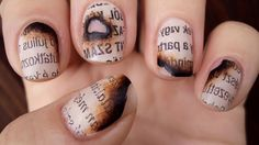 This Burned Paper Manicure Is Perfect for Banned Books Week re-pinned by: http://sunnydaypublishing.com/books/