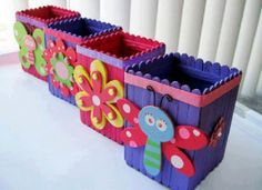 Diy wood crafts for kids popsicle sticks 38 Super ideas Ice Cream Stick Craft, Popsicle Stick Art, Popsicle Crafts, Craft Stick Crafts, Kids Crafts, Diy And Crafts, Arts And Crafts, Craft Ideas, Craft Sticks