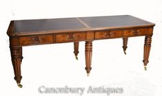 Double Antique Partners Desk - Gillows Mahogany 1860 Victorian Mirror, Partners Desk, Carriage Clocks, Dressing Table Mirror, Antique Desk, Glass Dishes, Kitchen Chairs, Club Chairs, Home Office