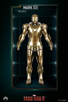 "Mark XXI – (Iron Man ""Midas"" gets its name based on its gold armor and ability to fly at very high altitude. Iron Man Wallpaper, Marvel Wallpaper, Marvel Dc Comics, Marvel Heroes, All Iron Man Suits, Iron Man Action Figures, Iron Man Avengers, Hulk Avengers, Spiderman"