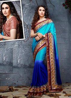 Shop Online Blue Art Silk Chiffon #PartyWearSaree @Chennaistore.