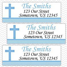 Blue Cross Baptism Christening First Holy Communion  - Personalized Address labels, Stickers by sharenmoments on Etsy