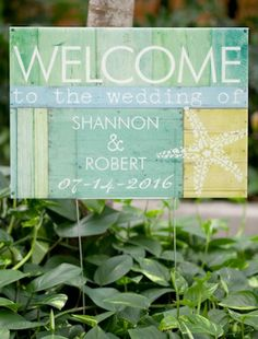 Beach Bliss Personalized Wedding Sign