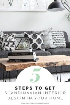 Are you looking for the perfect modern living room design and decor.  Check out our 5 step guide to getting the ultimate Scandinavian interior style in your home. Monochrome Interior, Scandinavian Interior Design, Wooden Dining Bench, Industrial Style Lighting, Open Plan Living, Minimalist Decor, Hairpin, Step Guide, Modern Living
