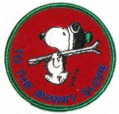 Vintage Snoopy embroidered patch skiing bunny slope by sweetalicelovesyou on Etsy