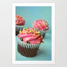 PINK CUPCAKES PHOTOGRAPH Art Print by Allyson Johnson - $20.00