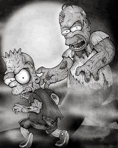 Bart and Homer Simpson as zombies! lookout!