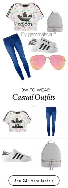 """Casual But cute "" by gemmafava on Polyvore featuring adidas Originals, Dorothy Perkins, adidas, MICHAEL Michael Kors and Quay"