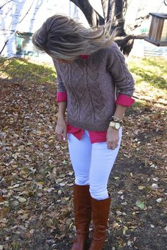 Skinny jeans, knee high boots, colored button up shirt and cable knit sweater = Love this look for Fall!