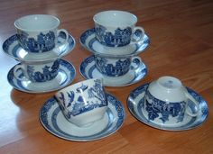 Blue Willow pattern cups and saucers set of 6 by Whole homes