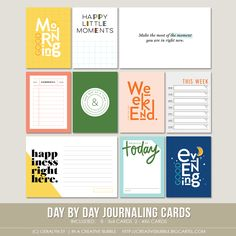 This set of ten digital journaling cards is perfect for Project Life, pocket page protectors, scrapbooking and mini-books. Included in this set are. Project Life Scrapbook, Project Life Layouts, Journal Quotes, Journal Cards, Recipe Book Holders, Journaling, Photo Album Scrapbooking, Pocket Scrapbooking, Digital Scrapbooking