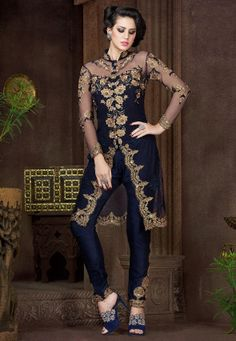Embroidered Jacket Style Net Suit with lehenga in Navy Blue