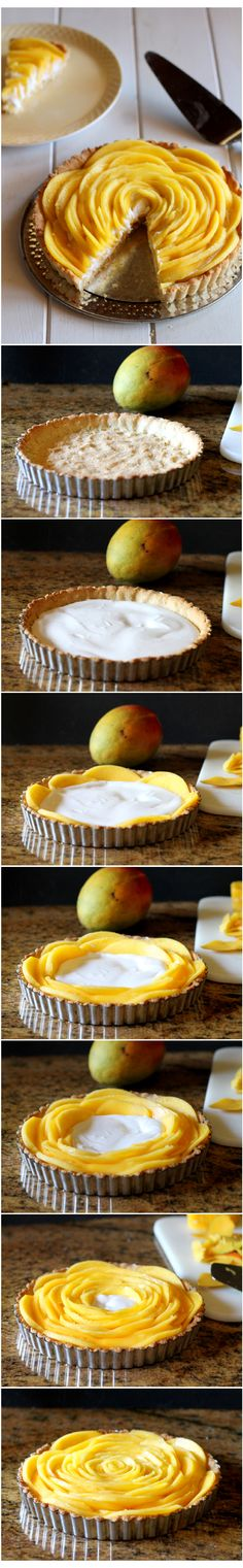 Mango Tart by bakerita: This looks super impressive, but comes together easily. It's also Gluten Free, Paleo, Vegan, and Refined Sugar Free. #Tart #Mango #GF #Easy