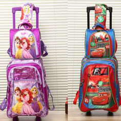 new arrival good quality children trolly school bag set trolley luggage backpack kids luggage 3pc one set for boys and girls