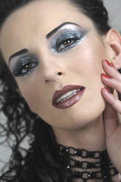 Is it wet? No... its a gunmetal crystalized effect.  Photo:Peter Wodarczyk, Makeup: Daniel Bayu, model: Marlena