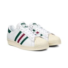 Adidas Originals - Superstar 80s, White/Colleciate Green/Mystery Ruby 2