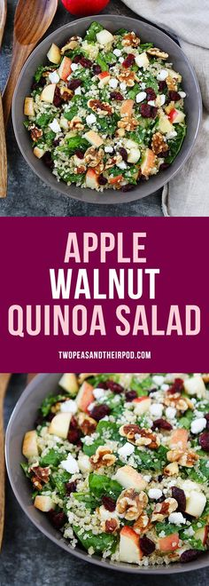 Apple Walnut Quinoa Salad with spinach, dried cranberries, goat cheese, and a simple maple mustard dressing is the perfect salad for fall. It goes great with any meal. #Apple #quinoa #GlutenFree More easy, delicious and healthy recipes @twopeasandpod #healthyrecipes #healthy