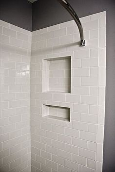 shelf cutout shower tile | White Subway Tile Shower