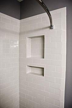 shelf cutout shower tile | White Subway Tile Shower