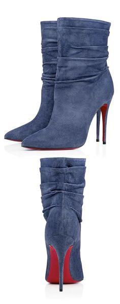Christian Louboutin blue suede booties. Latest shoes ideas.