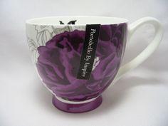 Portobello by Inspire Coffee Tea Mug Cup 14 oz Bone China Deep Purple Floral New #PortobelloByInspire