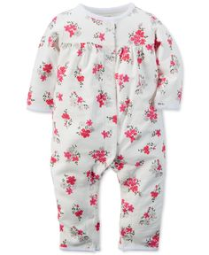 Carter's Baby Girls' Terry Floral Print Coverall