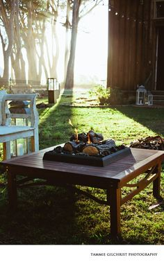 Firepit table in place, Wine Country Party