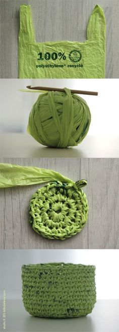 crochet basket with plastic bag yarn | Need something a little thicker than yarn? Try recycling an old plastic bag!