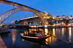 Porto bridge over Douro River Places In Portugal, Porto Portugal, Portugal Travel, Places Around The World, Around The Worlds, Rio, Douro, Water Crafts, Historical Sites