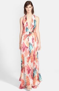 Alice+++Olivia+'Clare'+Abstract+Print+Pleated+Halter+Maxi+Dress+available+at+#Nordstrom