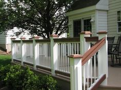 Deck railing designs in Outdoor Decor – Compare Prices, Read Porch Railing Designs, Deck Railings, Railing Ideas, Vinyl Railing, Porch Designs, Deck Colors, Deck Pictures, Deck Builders, Cool Deck