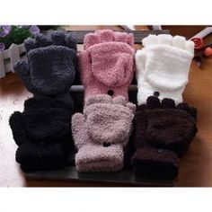 $3.09 Pair Of Sweet Cashmere Hooded Women's Winter Gloves With Exposed Fingers
