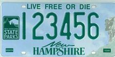 New Hampshire licence plate Put this on because on the right side, it shows the old man in the mountain, & we don't have him any more. On the other side, it shows we have state parks for folks to visit! Granite State, Live Free Or Die, Sign Off, New Month, License Plates, Beautiful Songs, Street Signs, Gypsy Soul, Funny Signs